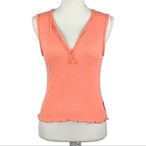 DESIGNS | Orange Ribbed Button Front Tank Top